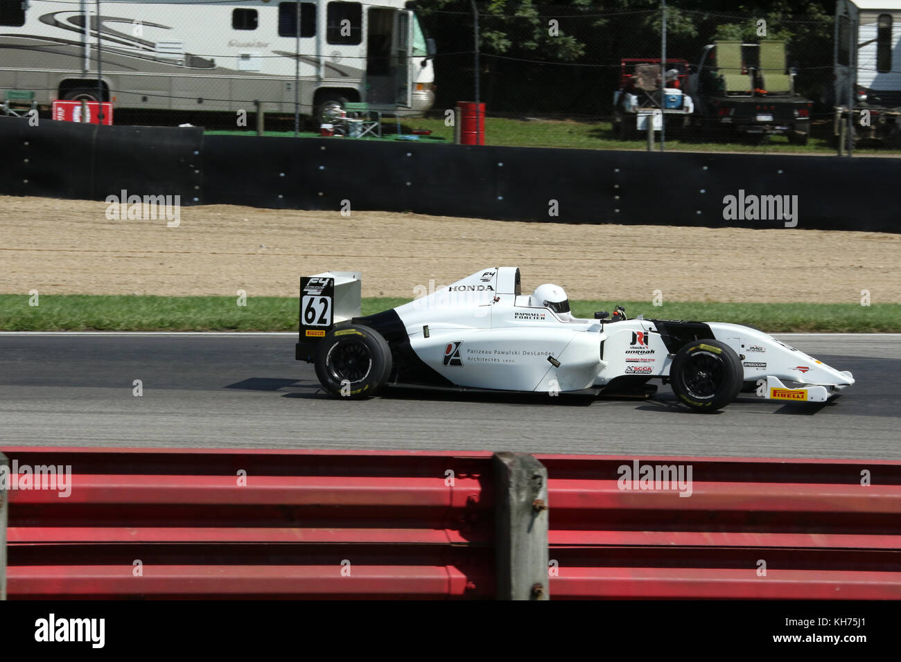 Raphael Forcier. Car 62. Sponsor Parizeau Pawulski Deslandes Architects. Formula 4 Race. Mid-Ohio Sports Car Course. - Stock Image