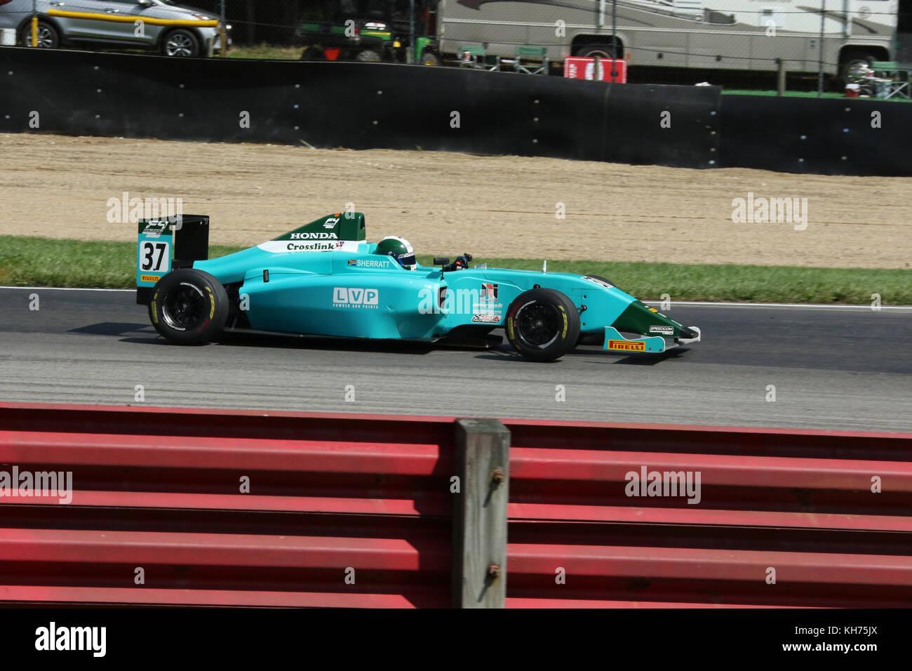 Jordan Sherratt. Car 37. Formula 4 Race. Mid-Ohio Sports Car Course. Lexington, Mansfield, Ohio, USA. - Stock Image