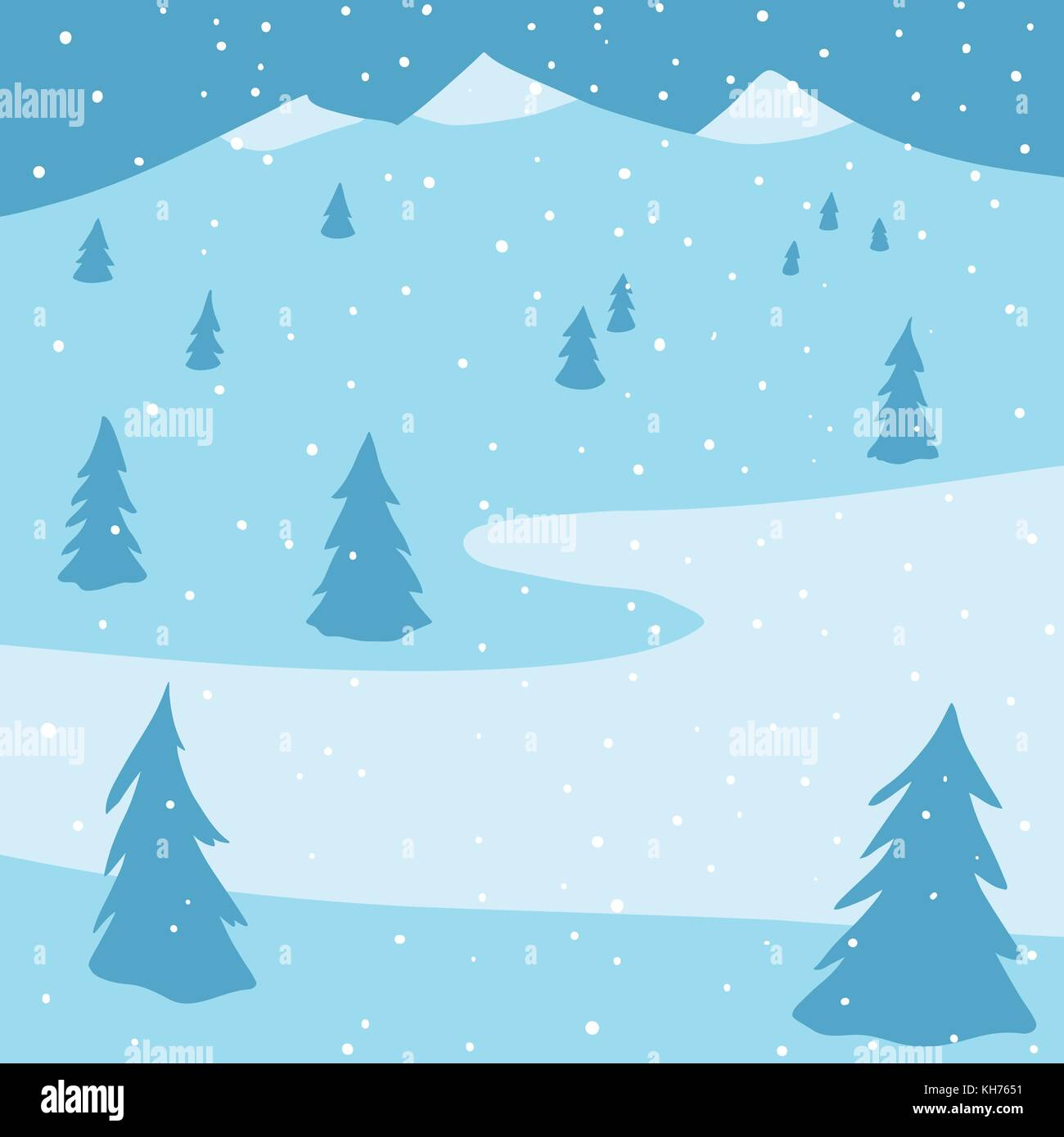 Winter landscape with spruces, mountains and snow - Stock Vector