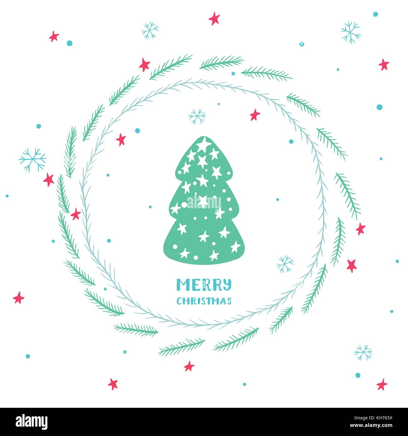 Cute Christmas card with christmas tree, round frame of spruce branches, stars and snowflakes - Stock Vector