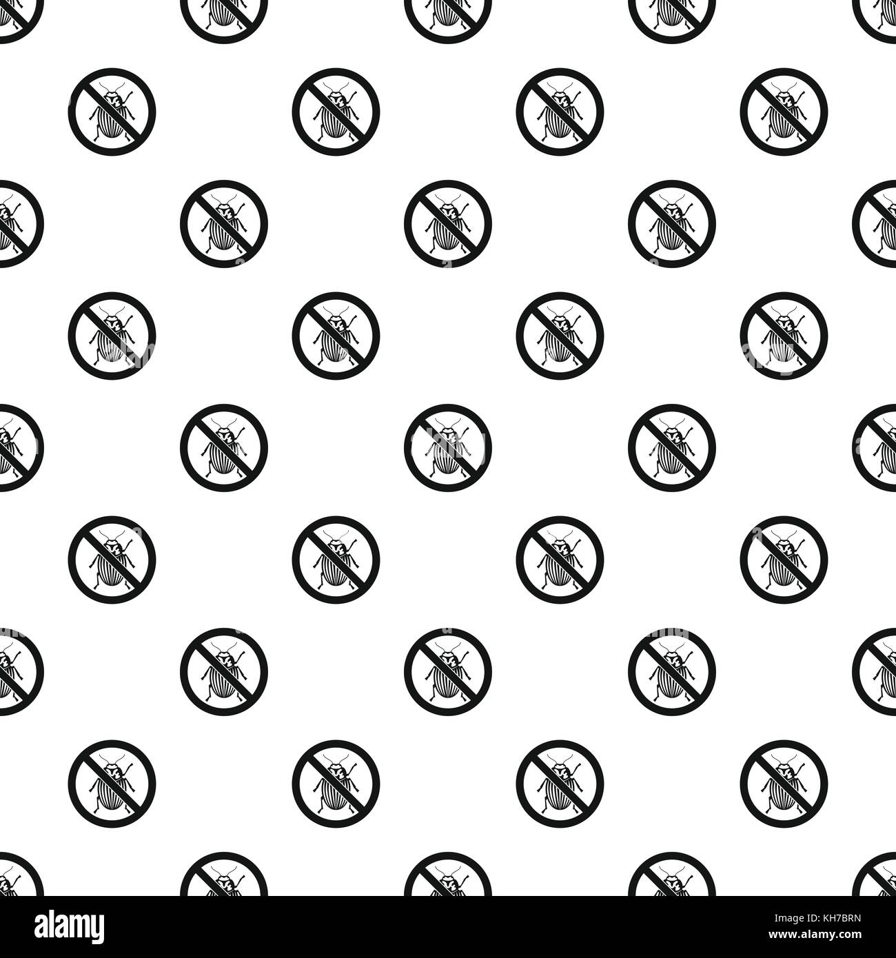 Prohibition sign colorado beetles pattern - Stock Image