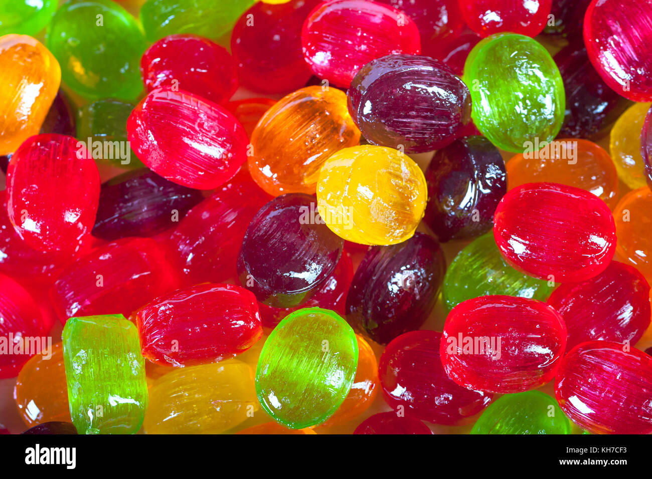 background from colorful  sweets of sugar candies. colored sweets close up - Stock Image