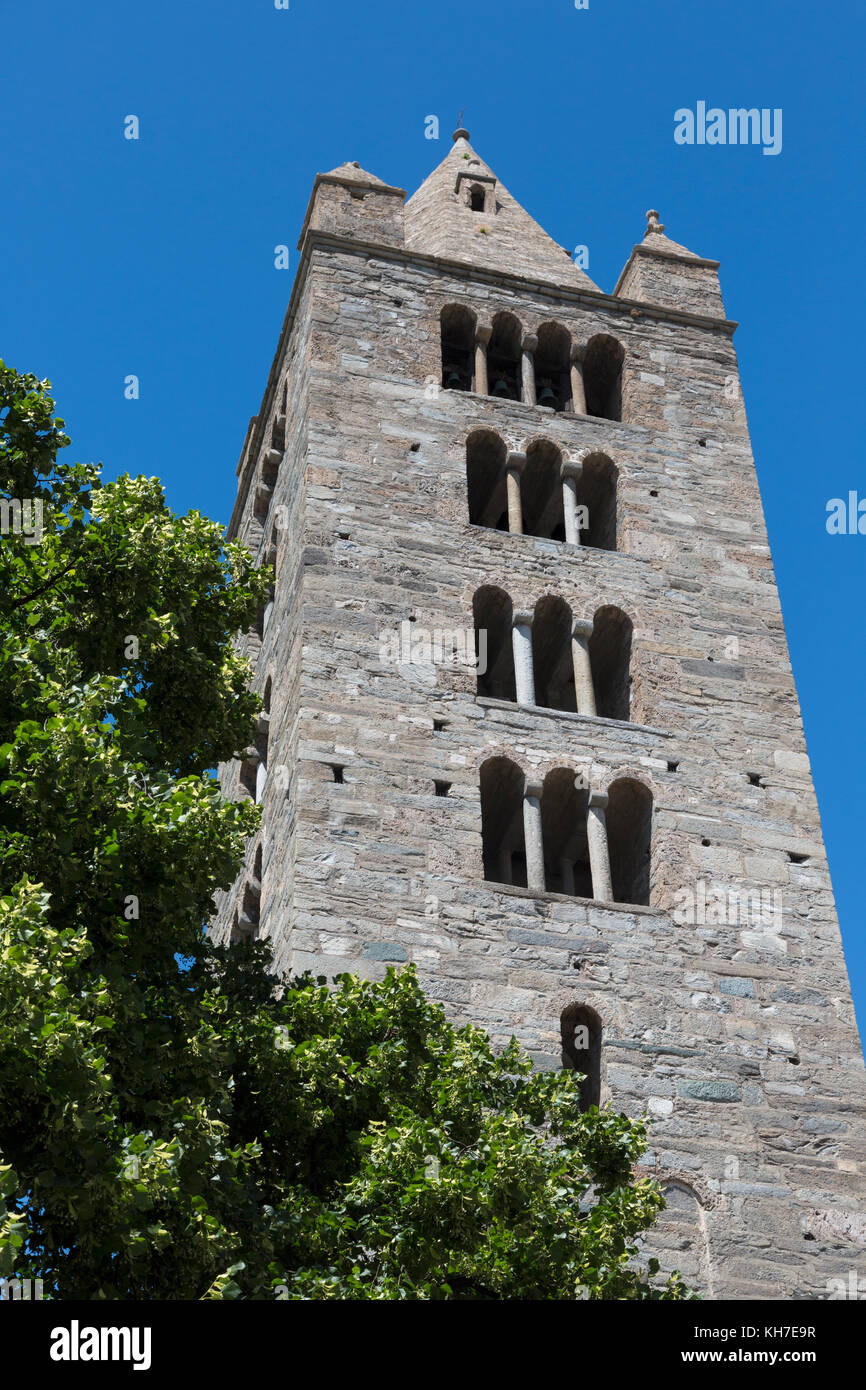 Aosta, Aosta Valley, Italy. Bell tower of the Collegiate church of Saint Orso. - Stock Image