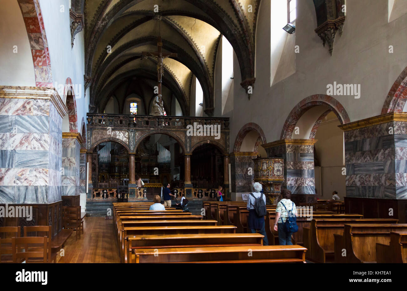 Aosta, Aosta Valley, Italy. Interior of the Collegiate church of Saint Orso. - Stock Image