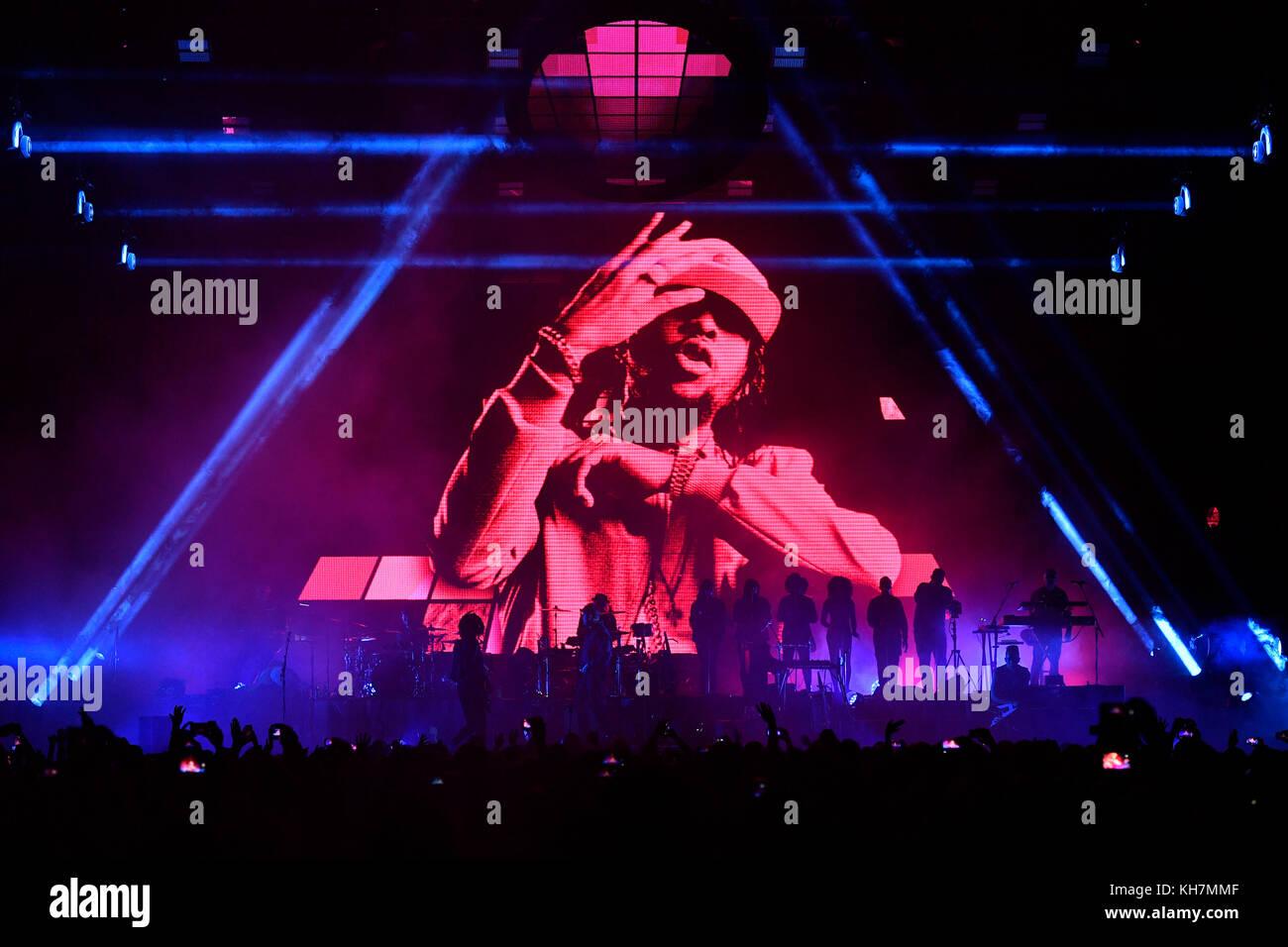 Prague, Czech Republic. 14th Nov, 2017. Pop hip hop band Gorillaz perform during the concert in Prague, Czech Republic, Stock Photo