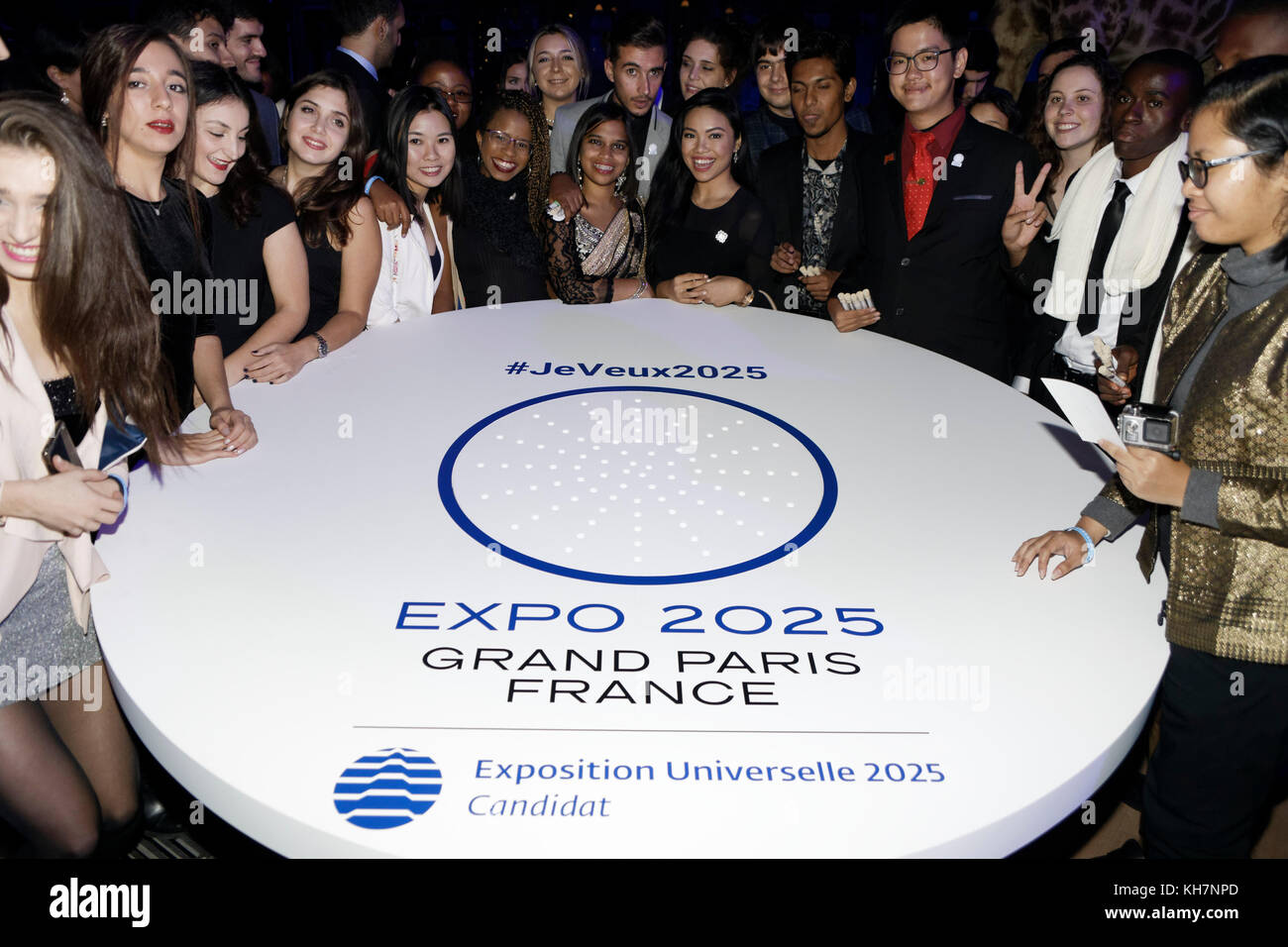 Paris, France. 14th Nov, 2017. Presentation of the project EXPO 2025 GRAND PARIS FRANCE and the 100 young Ambassadors Stock Photo
