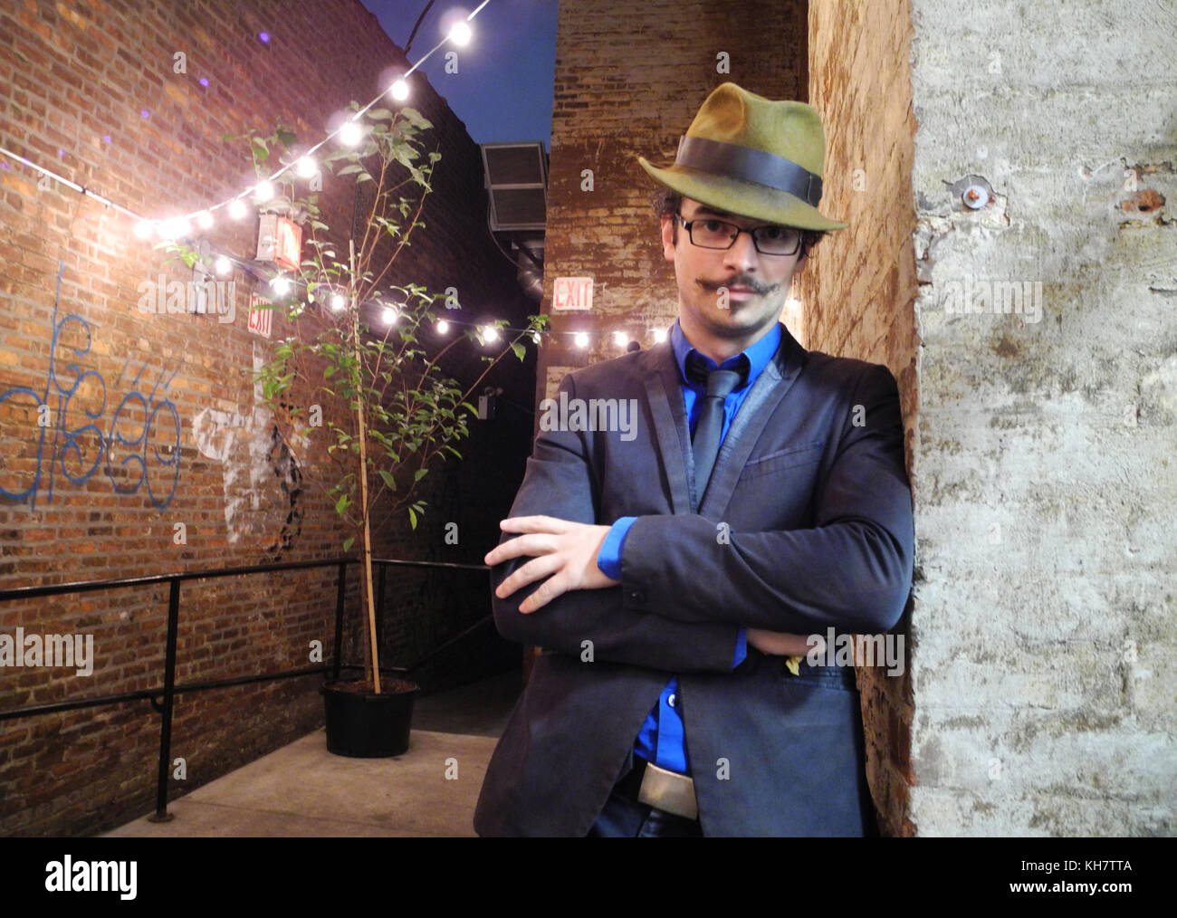 01st Nov 2017 Archive N D Austin Barkeeper And Founder Of The Threesome Tollbooth Can Be Seen In The Courtyard Of The Closed Down Restaurant Where