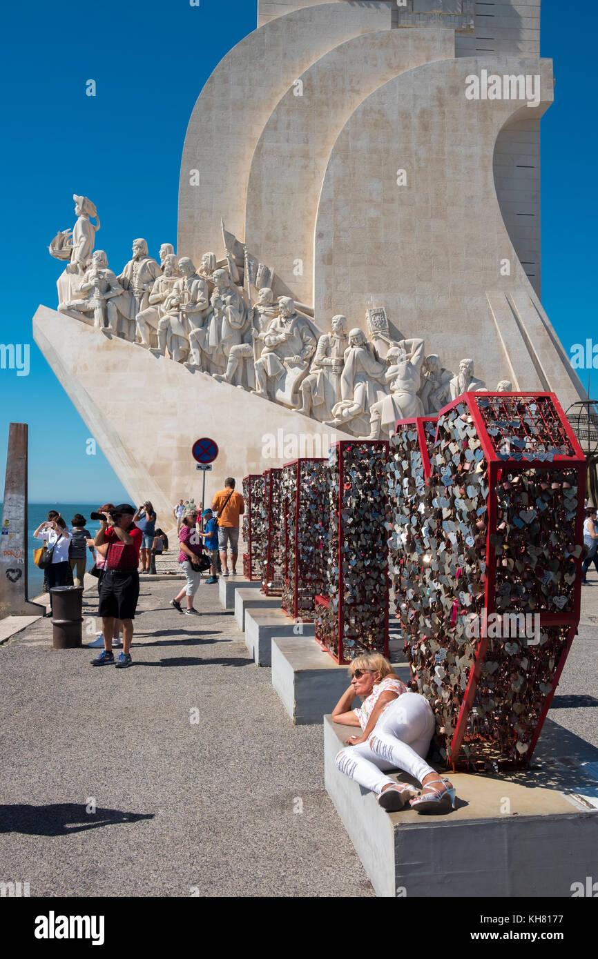 The Padrao dos Descobrimentos, or Monument to the Discoveries, in the Belem district of Lisbon, Portugal. Stock Photo