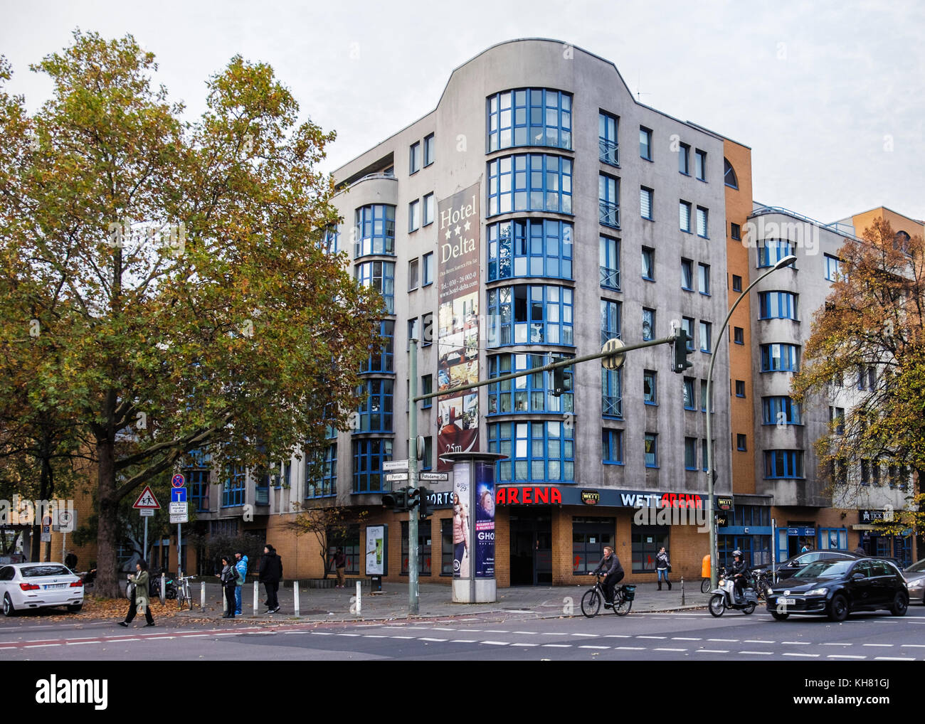 Berlin-Mitte Tiergarten.Berlin Street view,Arena Sports Bar building  on corner of Potsdamer street & Pohl Street - Stock Image