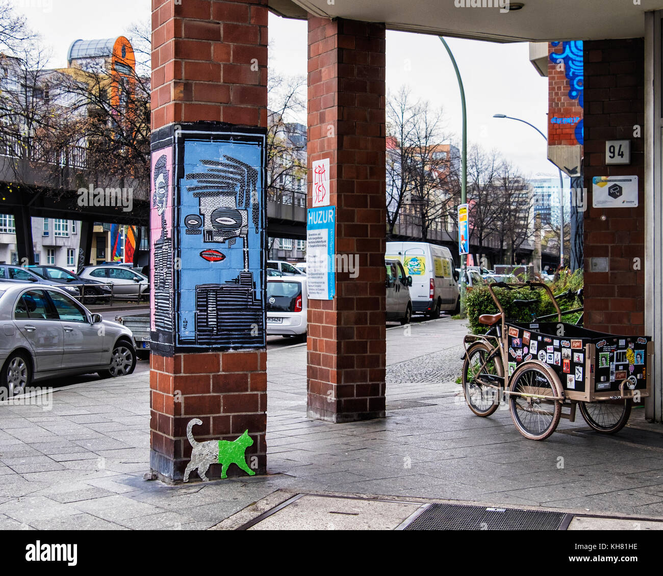 Berlin-Schönebergt.Huzur Neighbourhood meeting place for the elderly.Colourful entrance with street art. Abstract - Stock Image