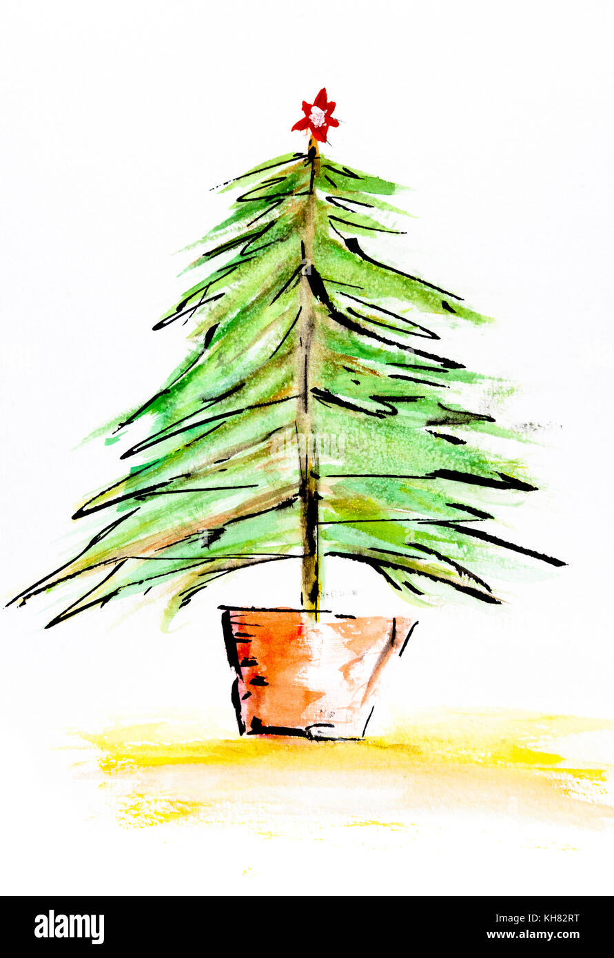 Christmas Tree Without Decorations On A White Background For Cutout