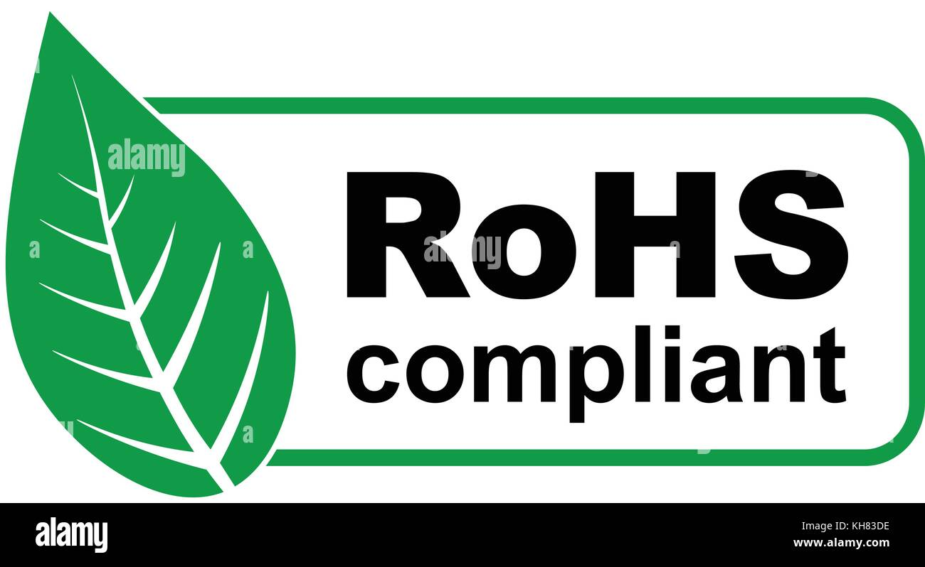 ce rohs compliant sign with green leaf vector