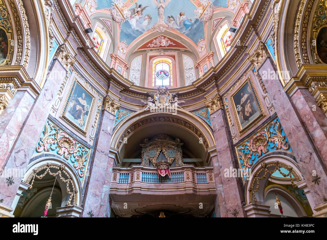 Innenraum in der Karmeliterkirche,  Mdina, Malta    Interior, Carmelite church, Mdina, Malta, Europe - Stock Image