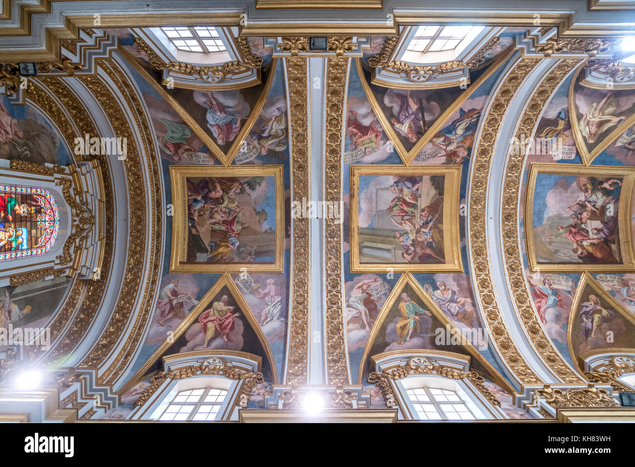 Malerei an der Kirchendecke der Kathedrale St. Paul, Mdina, Malta | ceiling painting, Cathedral of St. Paul, Mdina, - Stock Image