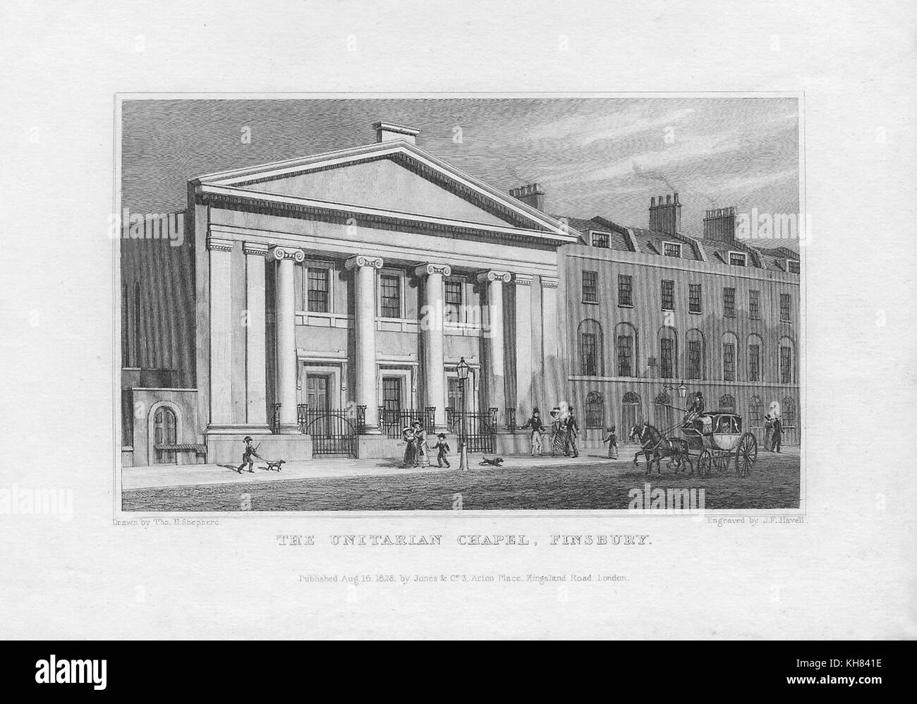 The Unitarian Chapel, Finsbury, engraving from 'Metropolitan Improvements, or London in the Nineteenth Century' - Stock Image