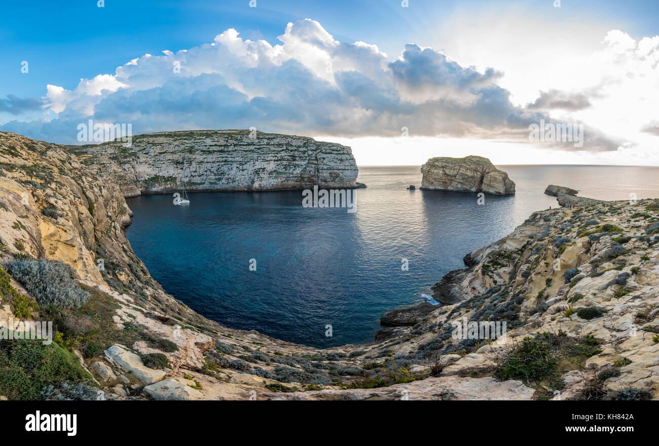 Panoramic view of Dwejra bay with Fungus Rock, Gozo, Malta Stock Photo