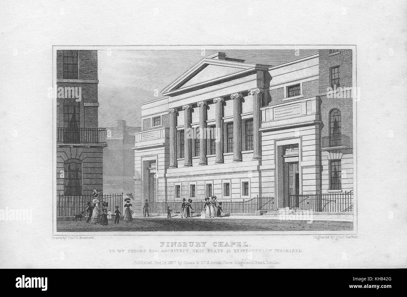 Finsbury chapel, engraving from 'Metropolitan Improvements, or London in the Nineteenth Century' London, - Stock Image