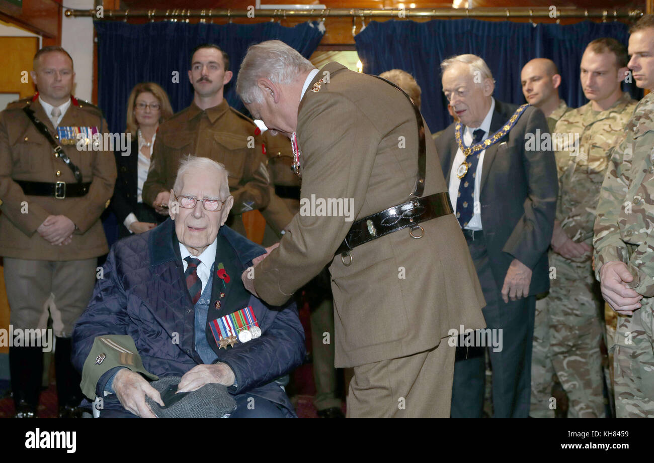 Colonel of The Life Guards and Gold Stick, Field Marshal, the Lord Guthrie of Craigiebank greets WWII veteran Mr Stock Photo
