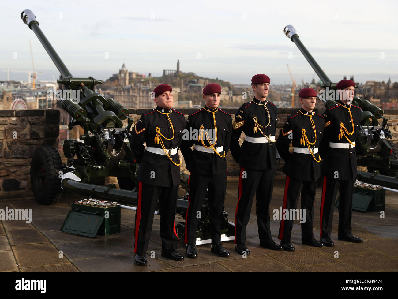 Members Of The 7th Parachute Regiment Royal Horse Artillery Airborne Gunners Wait Ahead A 21 Gun Salute Being Fired From Mills Mount Battery