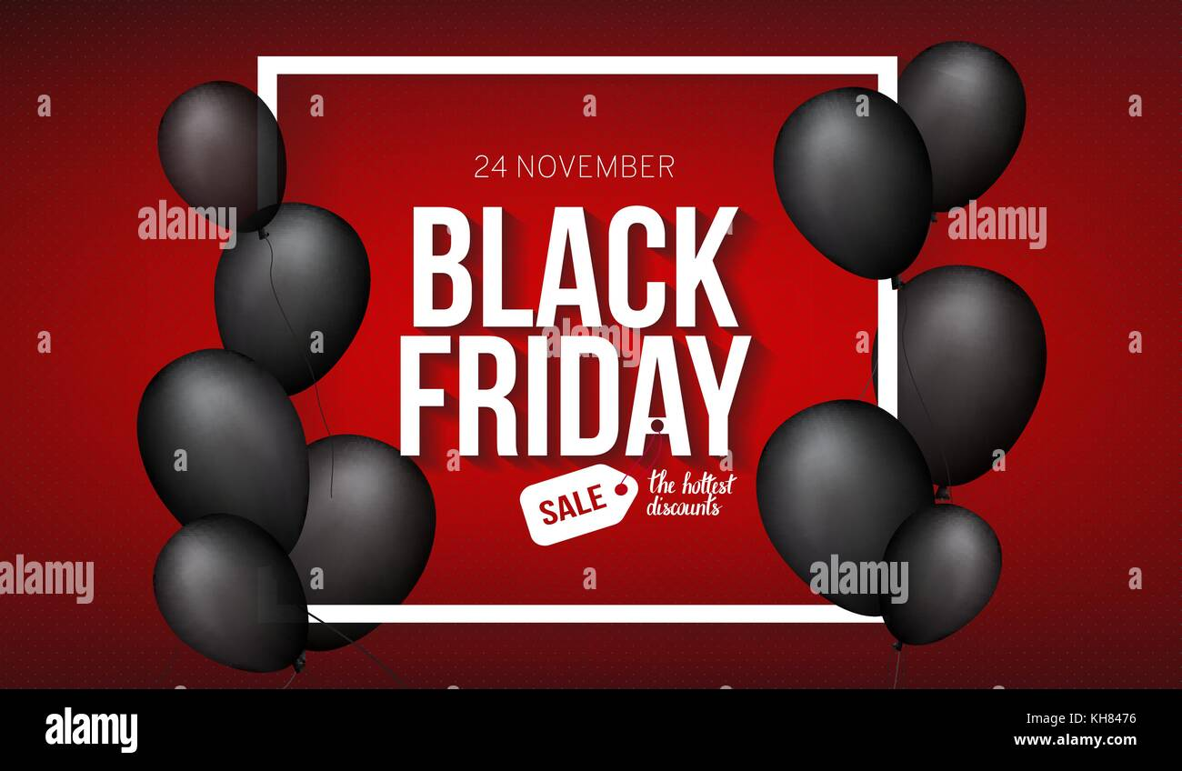 Black Friday Sale banner template for web, print design production. Black air balloon on contrast red background. - Stock Image