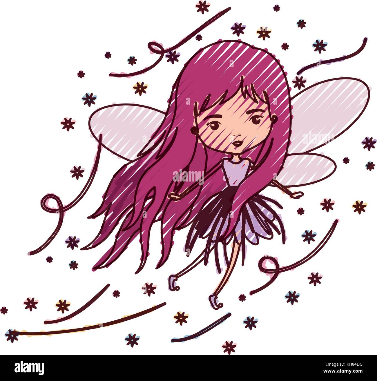 girly fairy flying with wings and long hair in colored crayon silhouette - Stock Image