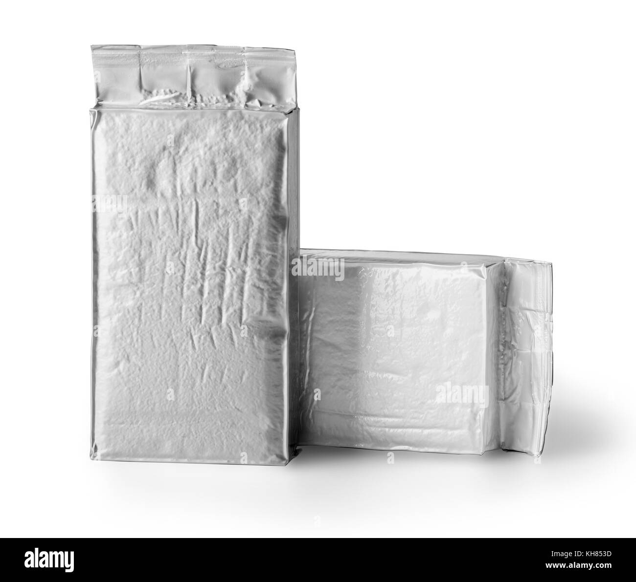 blank silver product packaging on white background - Stock Image