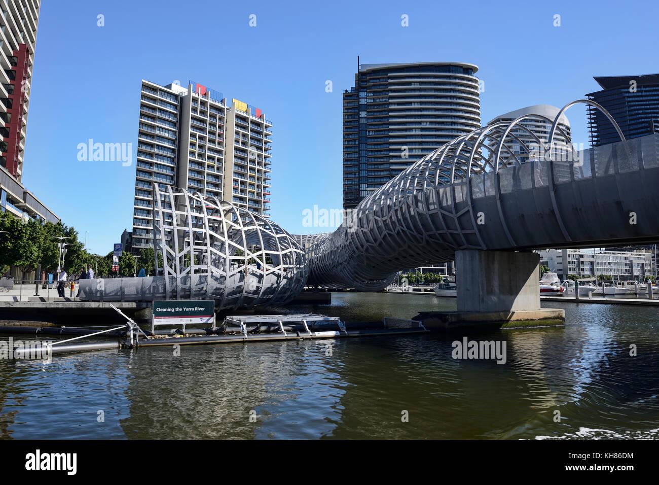 Webb Bridge on Yarra River at Yarra's Edge Marina in Melbourne, Victoria, Australia - Stock Image
