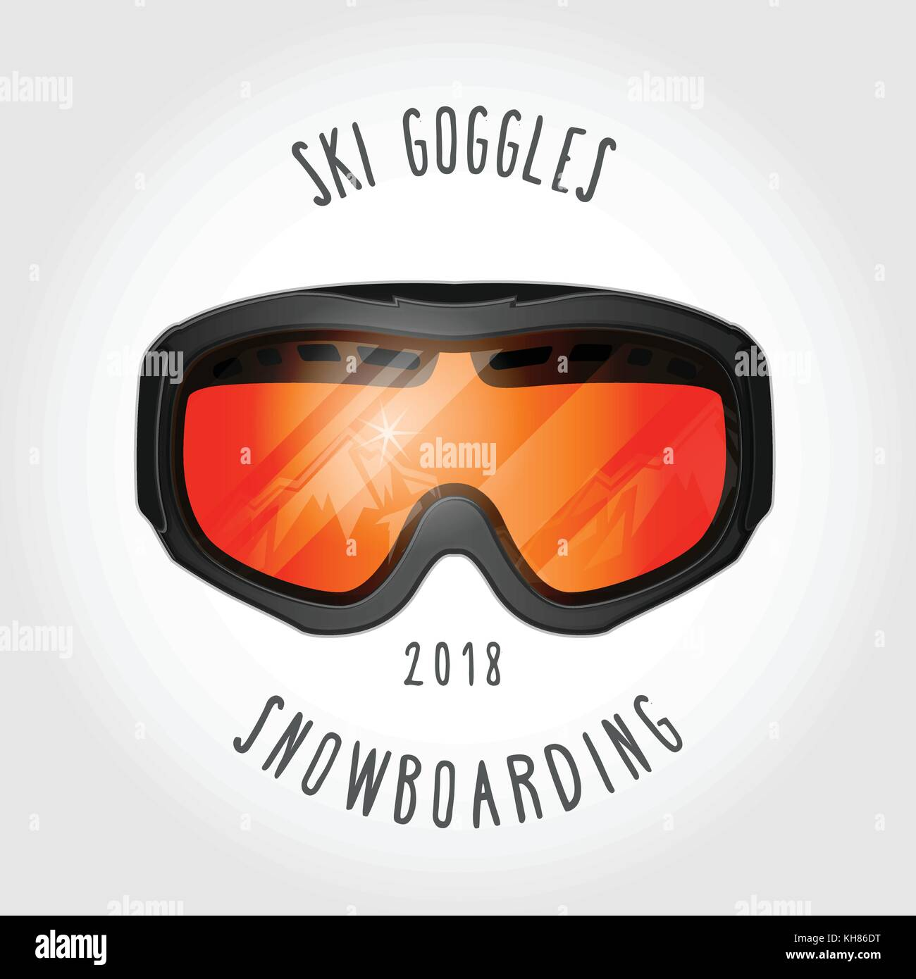 866453d3625 Snowboard or ski goggles with reflection of mountains - Stock Vector
