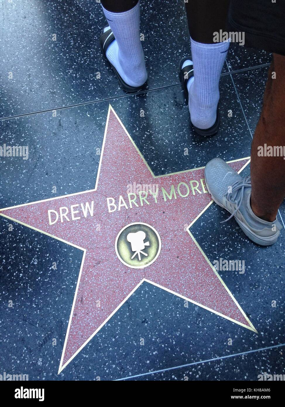 Hollywood, California - July 26 2017: Drew Barrymore Hollywood walk of fame star on July 26, 2017 in Hollywood, - Stock Image