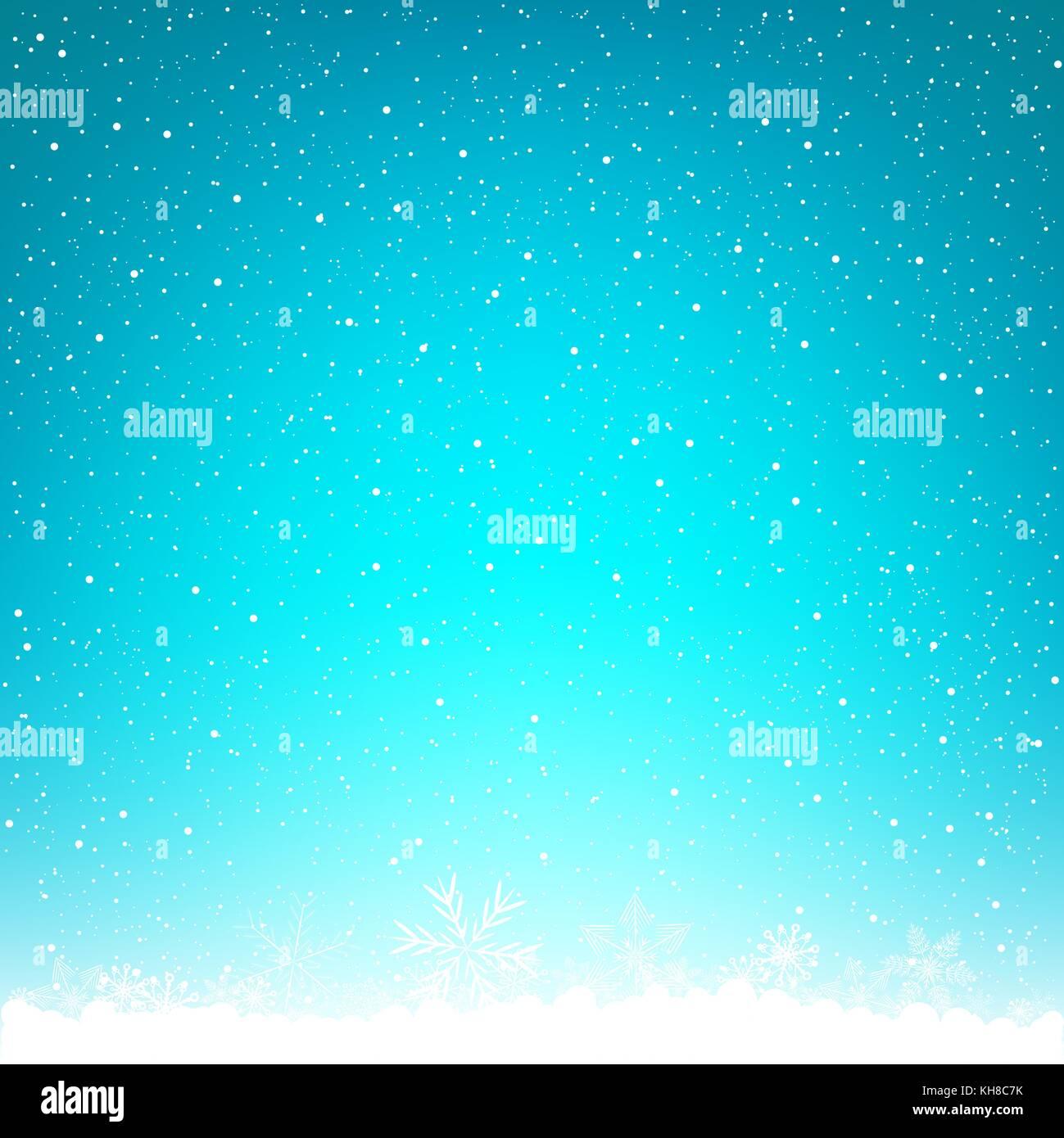 blue winter Christmas background snowflake - Stock Image