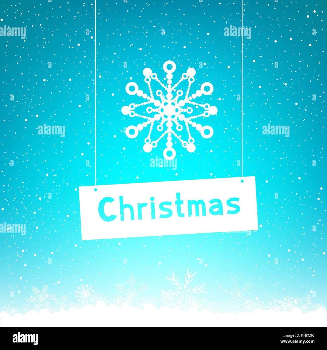 blue winter Christmas text snowflake - Stock Image