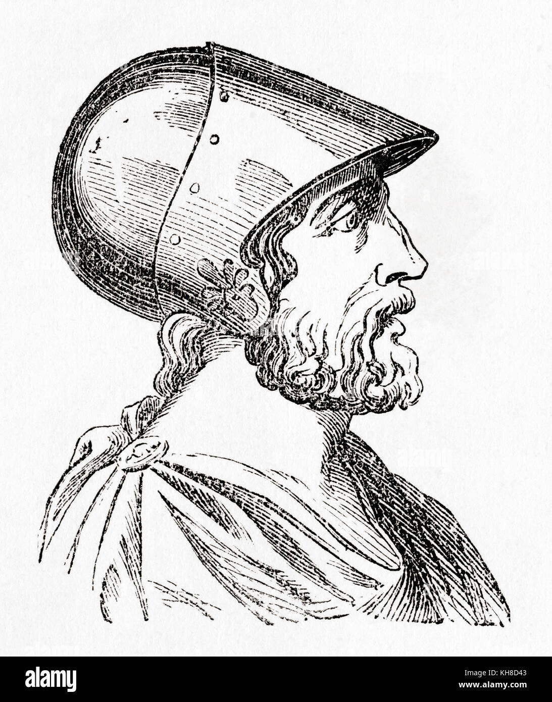 Epaminondas, d. 362 BC. Theban general and statesman of the 4th century BC.  From Ward and Lock's Illustrated - Stock Image