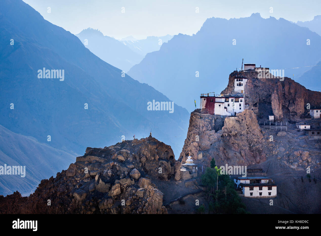 Dhankar gompa. Spiti valley, Himachal Pradesh, India - Stock Image