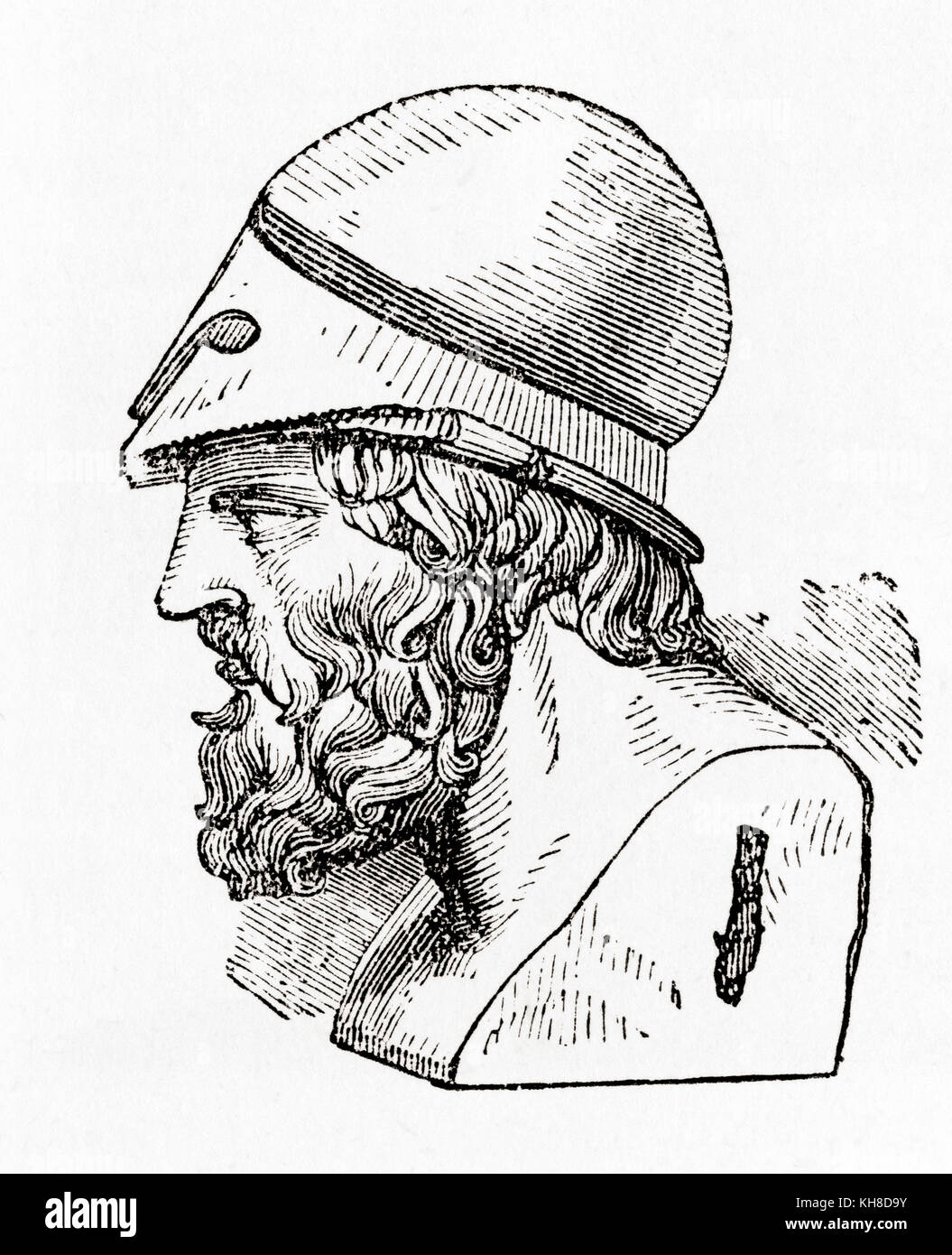 Aristides, 530 BC – 468 BC.  Ancient Athenian statesman. From Ward and Lock's Illustrated History of the World, - Stock Image
