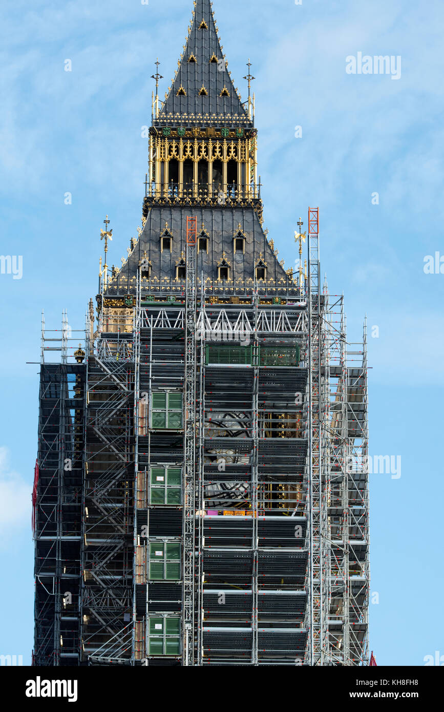 Big Ben Clock Tower now named the Elizabeth Tower at Palace of Westminster in London England is prepared for lengthy Stock Photo