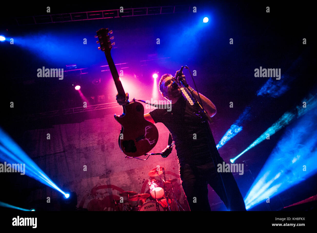 The American punk band Rise Against performs a live concert at Sentrum Scene in Oslo. Here vocalist and guitarist - Stock Image