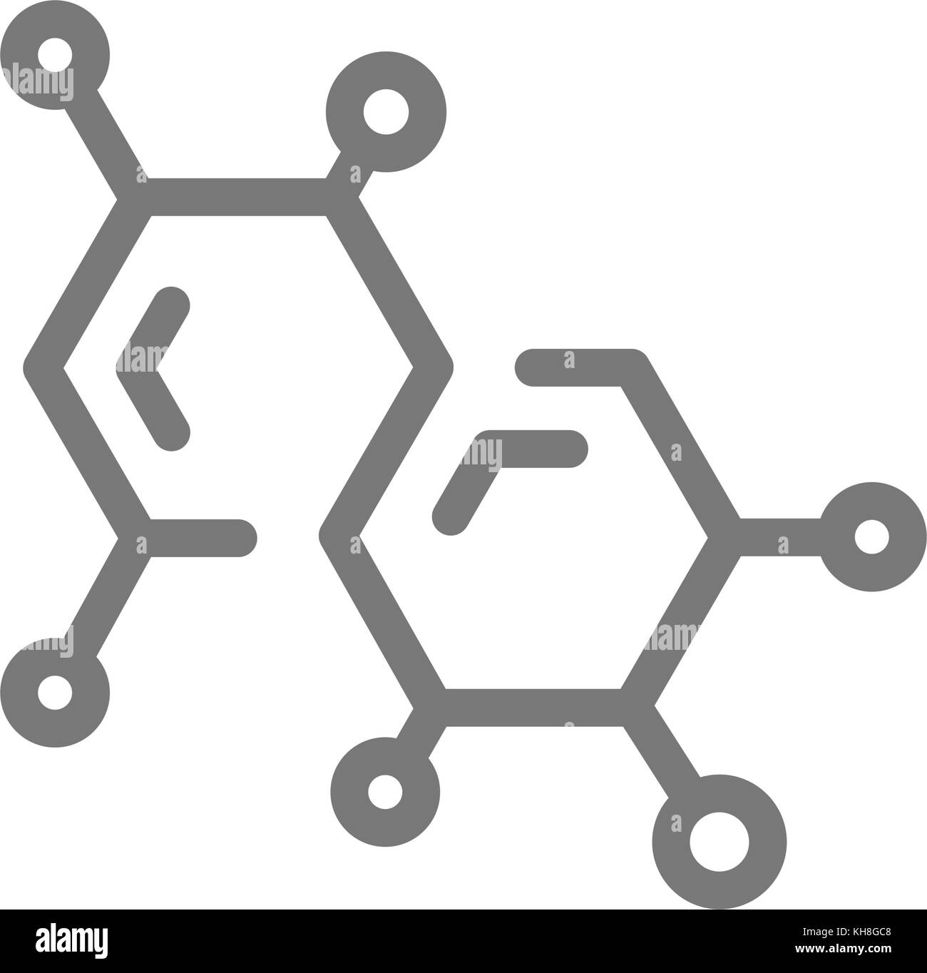 Simple chemistry formula and molecule line icon. Symbol and sign vector illustration design. Isolated on white background - Stock Vector
