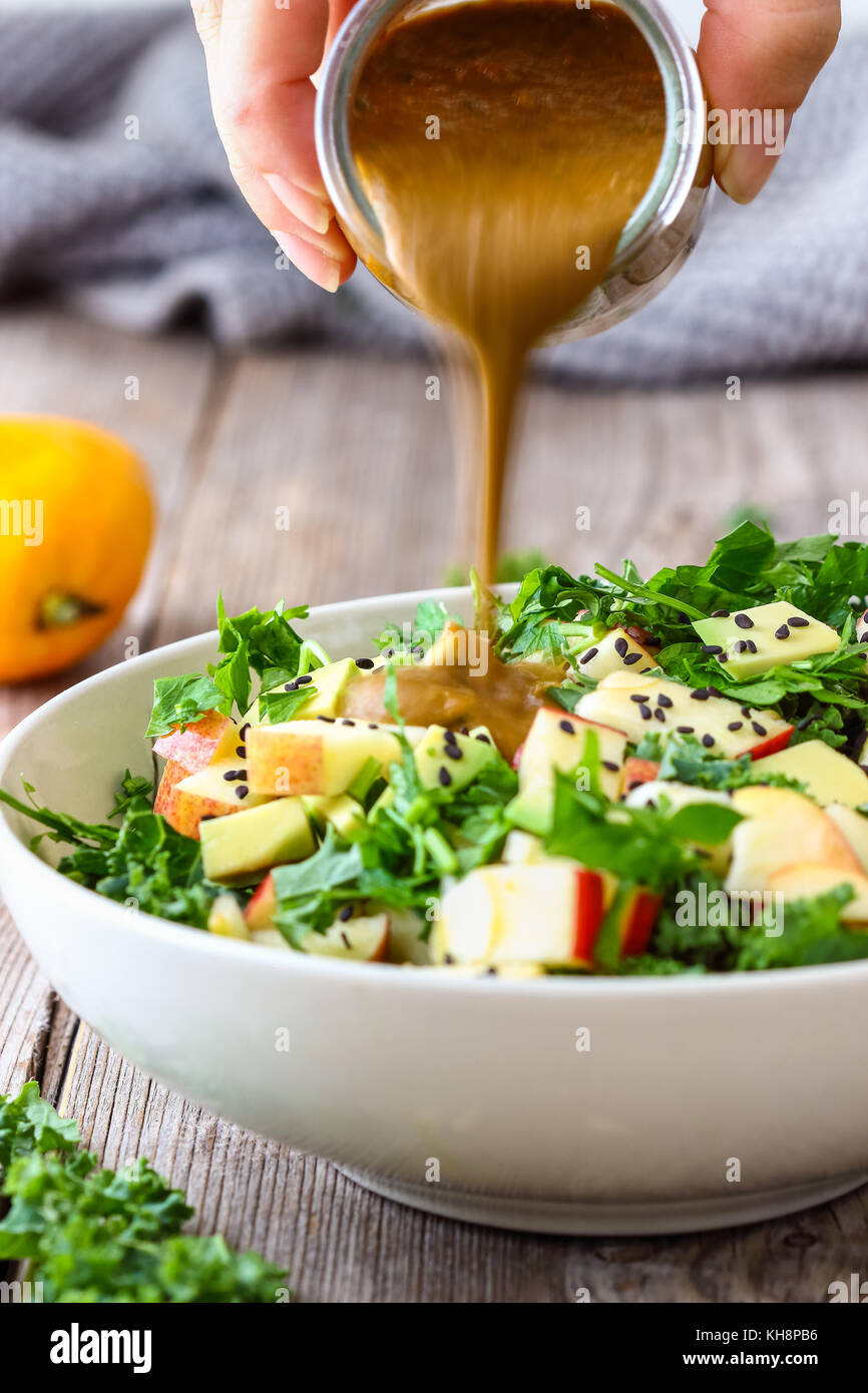 Healthy Raw Kale Salad - Stock Image