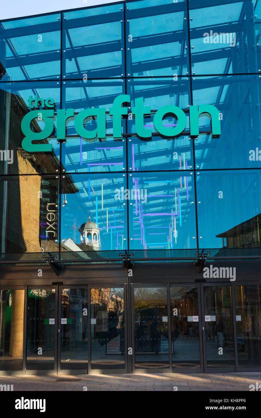 The refurbished Grafton shopping centre with it new glass entrance. Cambridge, England, UK. - Stock Image