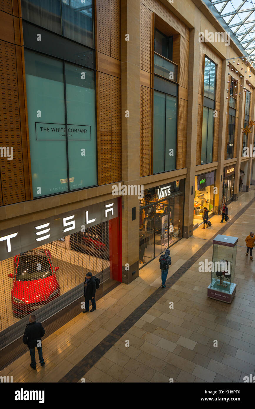 The Grand Arcade shopping centre with Tesla car showroom, in Cambridge, England, UK. - Stock Image