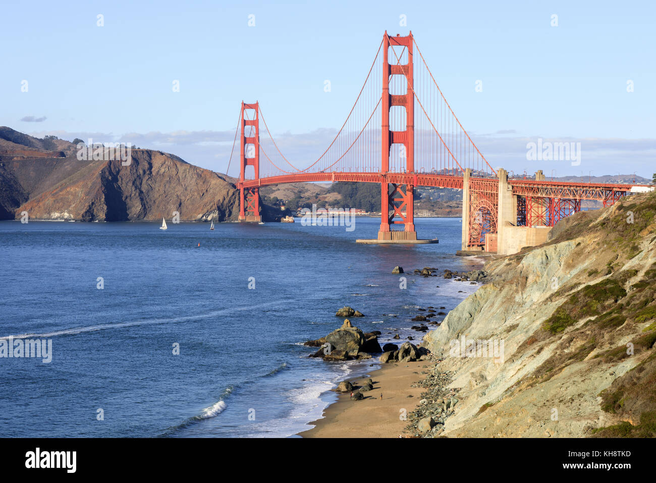 Golden Gate Bridge and Baker Beach on a clear autumn sunny day. - Stock Image