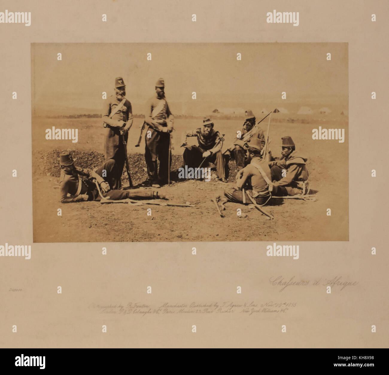 Chasseurs d'Afrique, Crimean War, Crimea, Photographed by Roger Fenton, 1855 - Stock Image