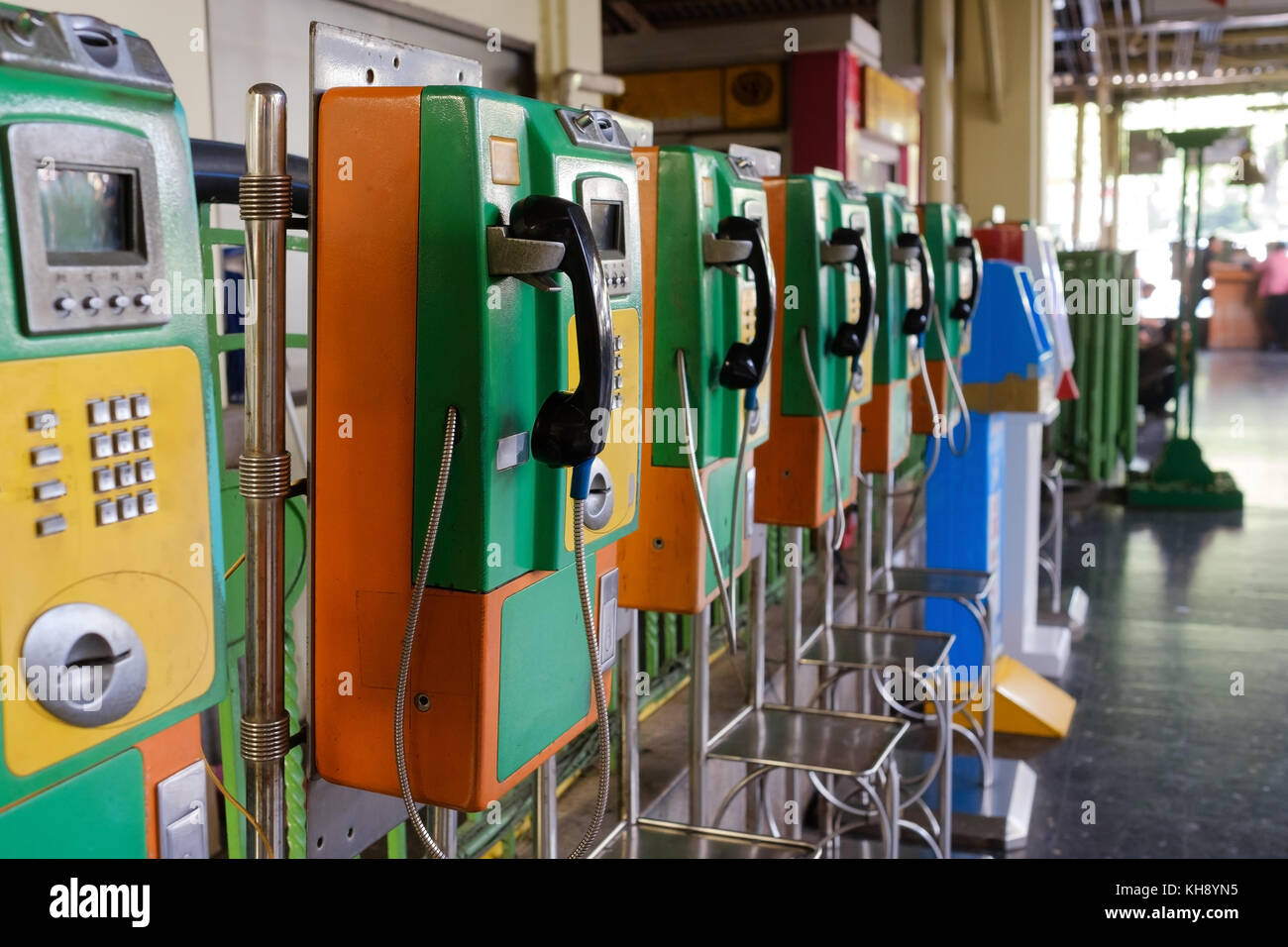 Several public phones on street - Stock Image