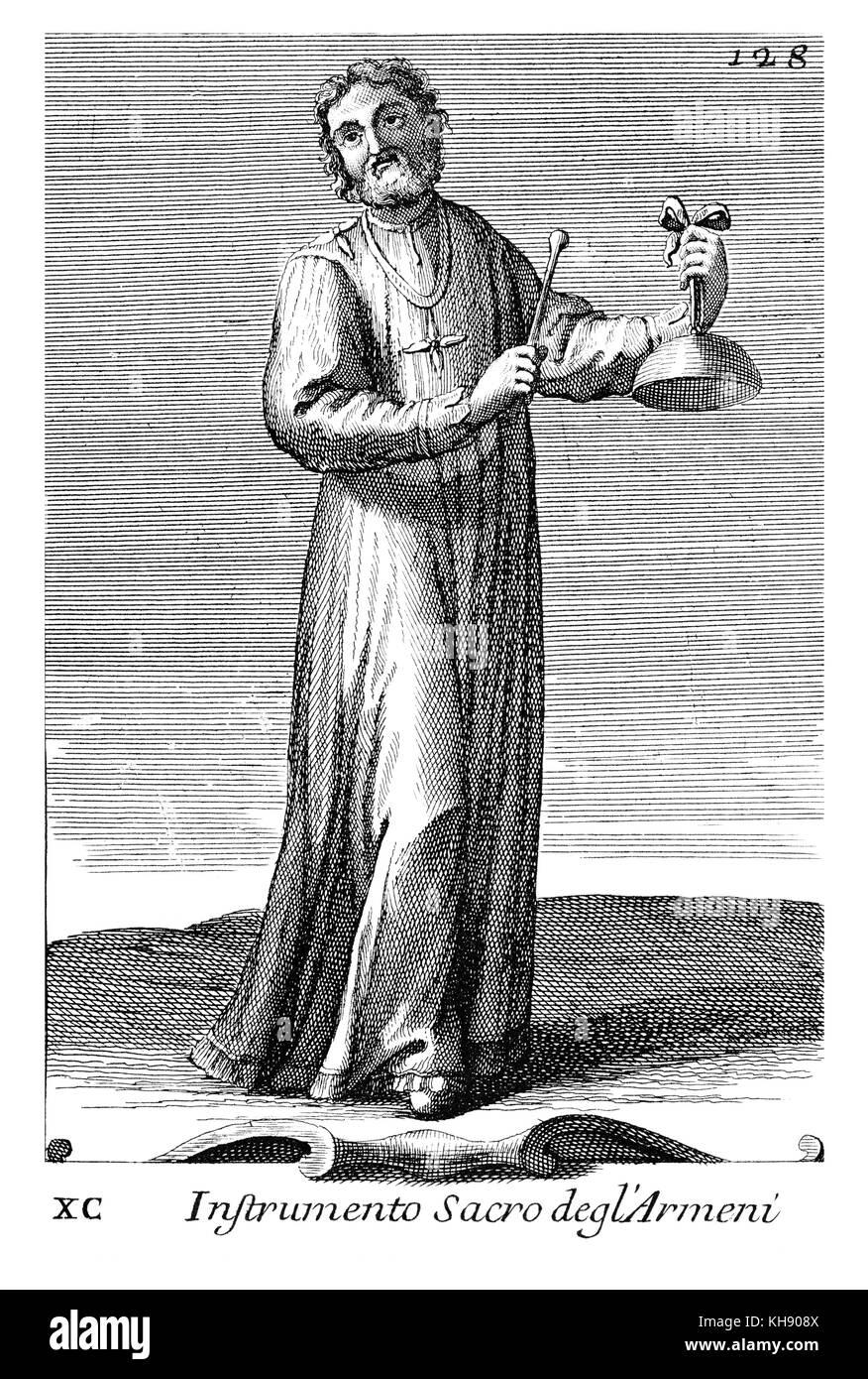Insturmento Sacro degl'Armeni  - tongueless bell struck by iron bar(Armenia).  Illustration from Filippo Bonanni's - Stock Image