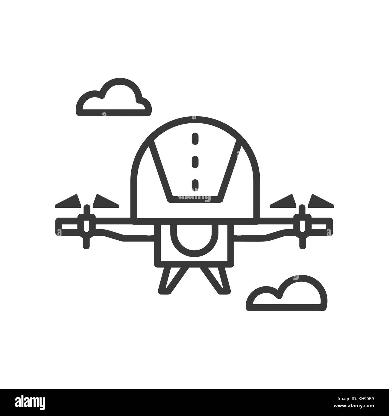 Drone - line design single isolated icon - Stock Vector