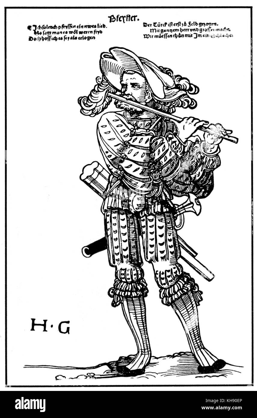Piper engraving by Hans Sebald Beham (for Hanns Guldenmudt's Landsknechtforge). HSB German printmaker 1500-1550. - Stock Image