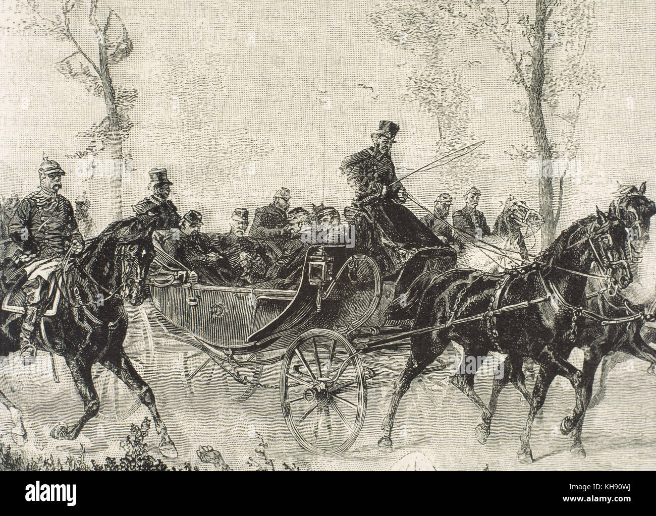 Franco-Prussian War. 1870-1871. Napoleon III Bonaparte (1808-1873) taken prisoner by the Prussian army after the Battle of Sedan (September, 1870). Engraving. 19th century. Stock Photo