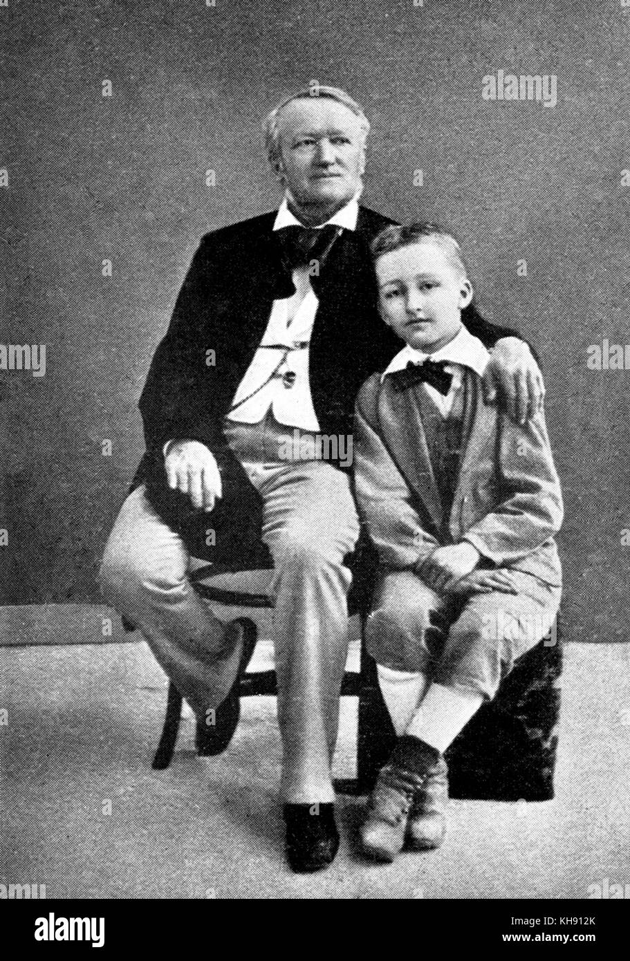 Richard Wagner with his son Siegfried as a young boy. RW: German composer & author, 22 May 1813 - 13 February - Stock Image