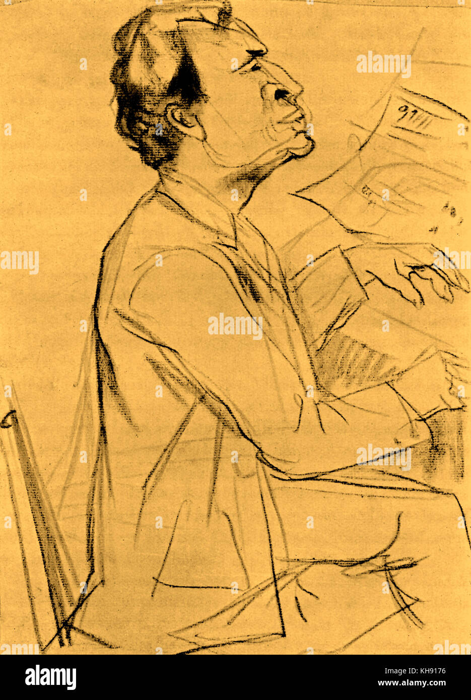 Bruno Walter- portrait. After drawing by Rudolf Großmann (1882-1941). BW: German conductor and pianist (1876 - Stock Image