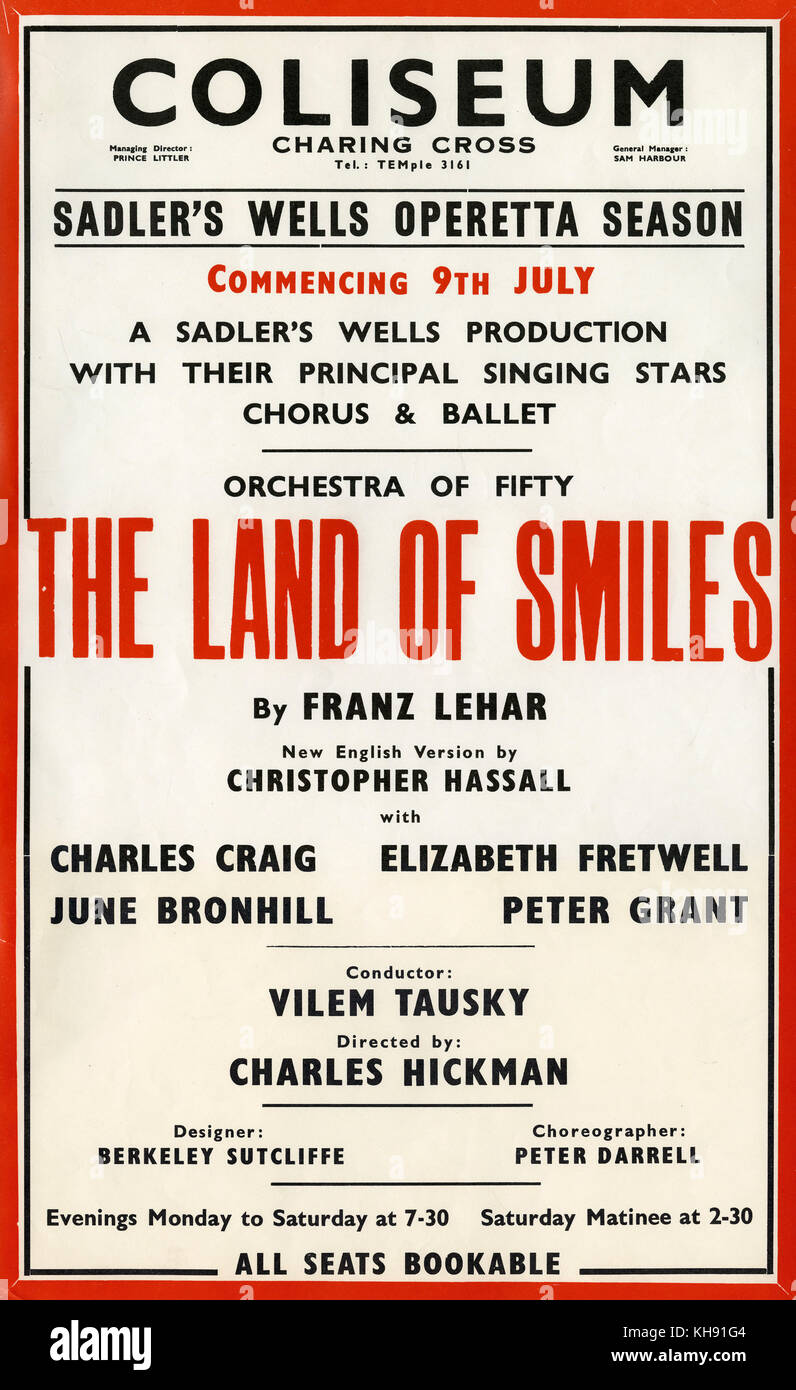 The Land of Smiles - opera by Franz Lehar. Poster for Sadler's Well's Opera production at London Coliseum, - Stock Image